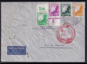 DR.,Zeppelin-Brief Südamerika Fahrt mit Mi.-Nr. 529 + 534 u.a., 4 Farben-Frank.