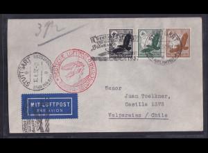 DR.,Zeppelin-Brief Südamerika Fahrt mit Mi.-Nr. 533 + 535 + 537