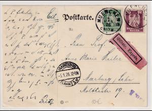 DR.,Eilbote-Karte mit Mi.F, Mi.-Nr 356 + 360