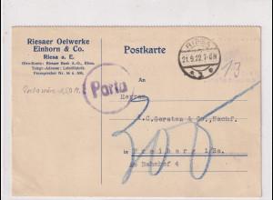 DR. Fernkarte mit Gebühr bezahlt aus Riesa + Nachporto!!!