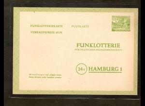 Berlin 1952, Funkloterie-Postkarte Mi.-Nr. FP 3 ungebraucht, Befund SchlegelBPP