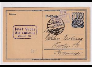 DR, Fern-Postkarte mit Gebühr bezahlt aus Cöln