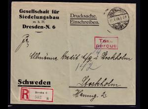 DR., R-Drucksache mit Gebühr bezahlt aus Dresden nach Schweden