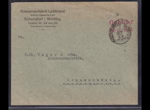 DR., Fernbrief aus Schorndorf mit Gebühr bezahlt