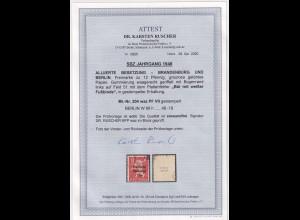 SBZ- 1948, Mi.-Nr.204 waz PF VII, gestempelt, FA. RuscherBPP