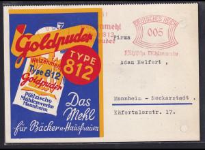 DR. Reklame-Karte, mit Freistempel Pfälzische Mühlenwerke Mannheim