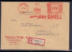 DR. Reklame-Brief, mit Freistempel Rhenania Ossag ( Shell) in Leipzig