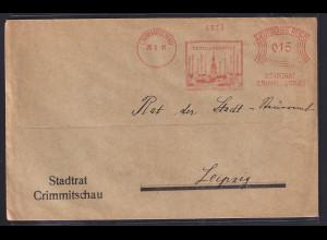 DR. Reklame-Brief, mit Freistempel Textilindustrie Stadtrat Crimmitschau