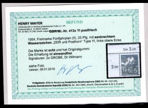 DDR., Mi.-Nr. 413x YI postfrisch, Befund Mayer