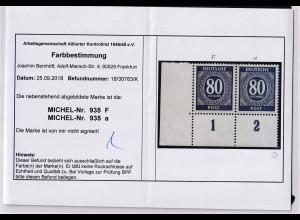 Alliierte Besetzung, Kontrollrat, Mi.Nr.935 F+935 a,postfrisch, Befund. Bernhöft