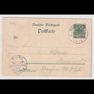 DR, Berliner Gewerbe-Ausstellung Offizielle Postkarte 1896 gestempelt.