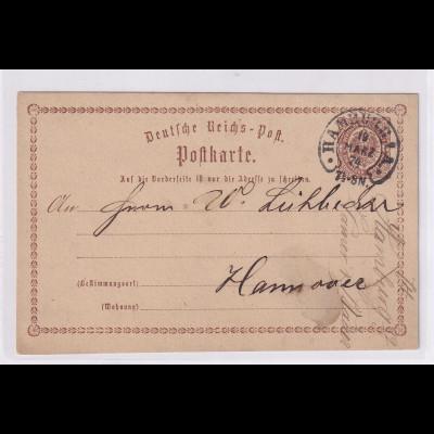 DR.,Ganzsache Mi-Nr. P 1 mit HE-St. Hamburg, Spalink 17-4