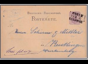 DR.,Ganzsache Mi-Nr. P 5 gelaufen mit BP-St., Cöln-Hannover