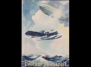 Dr. 1940 Schmuckblatt-Telegramm/Deutsche Reichspost/Luftfahrt ist not 1-2