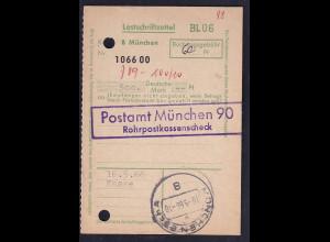 Rohrpost München, Lastschriftzettel