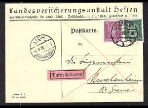 DR., Eilbote-Fernkarte Mi.-Nr 389 + 395 mit Perfin