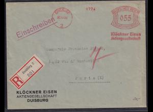 DR., R-Ausland-Brief mit Frei-Stempel Klöckner Eisen AG., Duisburg