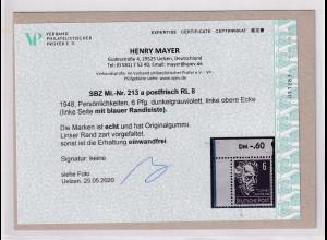 SBZ., Mi.-Nr. 213 a RL 8 postfrisch, Befund. Mayer