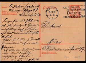 Danzig, Mi.-Nr. P 52 als Ortskarte gelaufen
