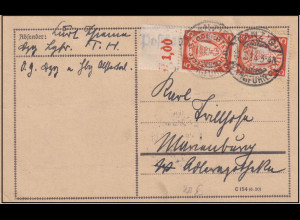 Danzig,Fernkarte mit MeF. Mi.-Nr. 193 OR.