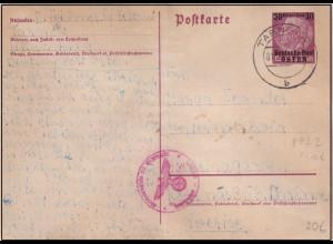 GG., Deutsche Post Osten Mi.-Nr. P2 I gelaufen