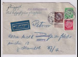 DR.,Rohrpost München , Ausland-Luftpostbrief von münchen nach Prag