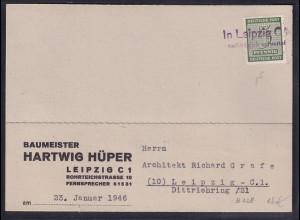 SBZ-West Sachsen, Ortskarte mit EF. Mi.-Nr. 128 x Nachträglich entwertet.