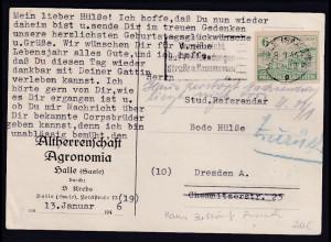 """SBZ., Provinz Sachsen Fernkarte mit EF. Mi.-Nr. 85 """"Haus Zerstört"""" Züruck"""
