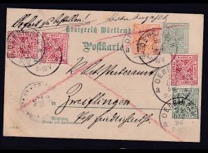 AD., Württemberg , Ganzsache Mi,-Nr P 29 als Eilbote-Landzustellung !! gelaufen