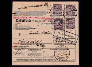 DR., Ausland-Paketkarte aus Offenbach mit MeF. Mi.-Nr. 343