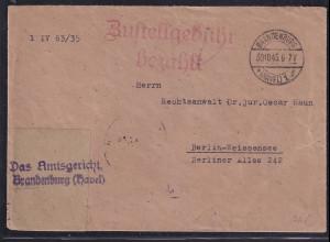 SBZ. Fernbrief mit Gebühr bezahlt aus Brandenburg(Havel) 1