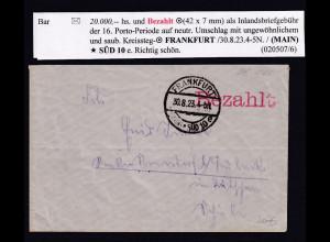 DR., Fernbrief mit Gebühr bezahlt aus Frankfurt
