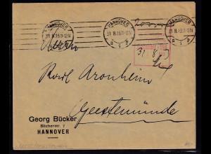 DR.,Fernbrief mit Gebühr bezahlt aus Hannover von 31.8.23