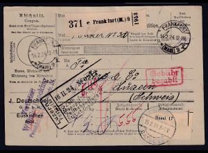 DR., Ausland-Paketkarte mit Gebühr bezahlt aus Frankfurt