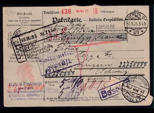 DR., Ausland-Paketkarte mit Gebühr bezahlt aus Berlin