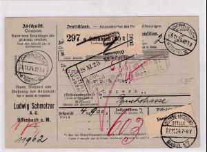 DR., Ausland-Paketkarte mit Gebühr bezahlt aus Offenbach/Selbstbucher