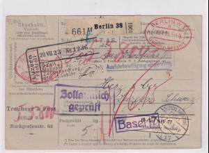 DR., Ausland-Paketkarte mit Gebühr bezahlt aus Altena/Selbstbucher