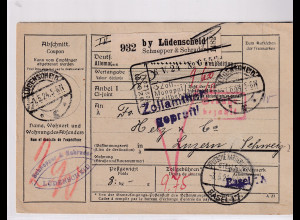 DR., Ausland-Paketkarte mit Gebühr bezahlt aus Lüdenscheid/Selbstbucher