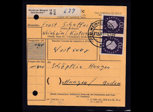 BRD, Paketkarte Me.F. Mi.-Nr. 306/306