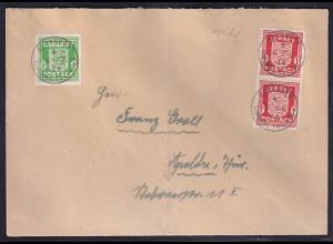 Dt. Besetzung 2. Weltkrieg, Fernbrief mit Mi.F. Jersey + Guernsey