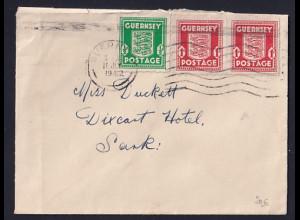 Dt. Besetzung 2. Weltkrieg, Guernsey Fernbrief mit MiF. Mi.-Nr. 2a. + 1d