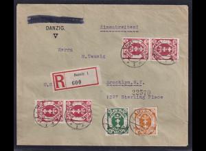 Danzig, R-Auslandbrief mit MiF. Mi.-Nr. 73, 75, 81