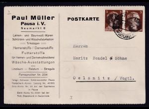SBZ, Sächsische Schwärzung MeF.AP 272 auf Fernkarte aus Pausa sign. Busch