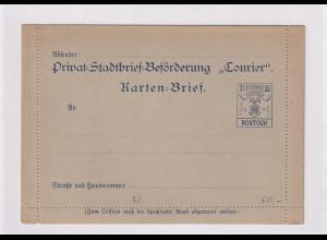 Privatpost, Courier-Rostock, 3,5 Pf. Karten-Brief ungebraucht