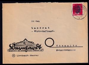SBZ, Sächsische Schwärzung AP 827 auf Fernbrief aus Limbach