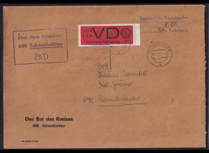 DDR. ZKD-Brief mit EF. Mi.-Nr. 3 x