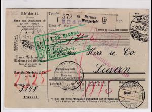 DR., Ausland-Paketkarte mit Gebühr bezahlt aus Barmen Wupperfeld