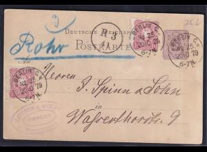 DR. Rohrpost-Karte, Pf/Pfe Ganzsache von 1879 als Rohrpostkarte gelaufen