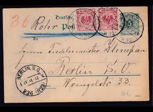 DR. Krone-Adler Ganzsache als Rohrpost-Karte von 1891 gelaufen