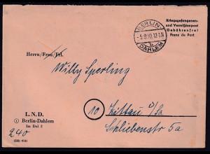 Berlin, Krieggefangenen-Brief aus Berlin-Dahlem 5.9.50